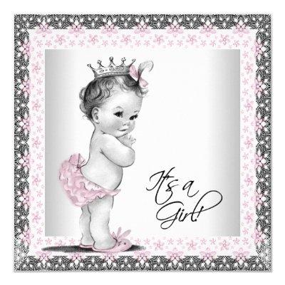 Pink and Gray Vintage Baby Girl Shower Invitation