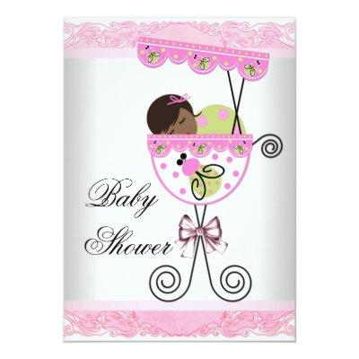 Pink and Green Baby Girl Shower Invitation