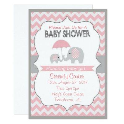 Pink and Grey Elephant Baby shower Invitations