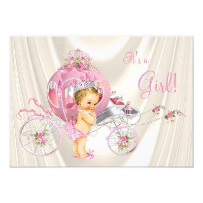 Pink and Ivory Pearl Blonde Princess Baby Shower Invitation