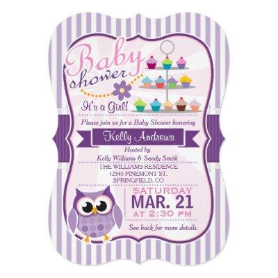 Pink and Lavender Purple Owl, Girl Baby Shower Invitation