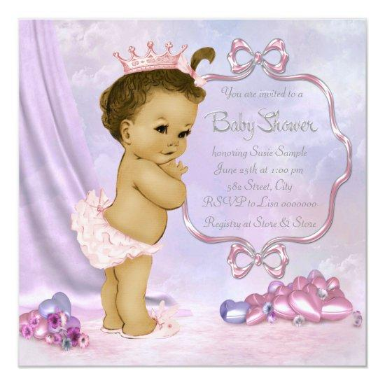 Pink and purple african american baby girl shower card baby shower pink and purple african american baby girl shower card filmwisefo