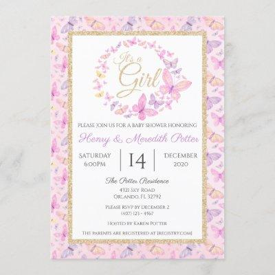 Pink and Purple Butterfly Girls Baby Shower Invitation