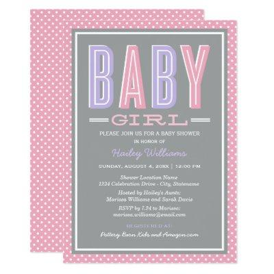 Pink and Purple Chic Type Baby Girl Shower Invitations