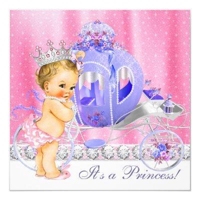 Pink and Purple Princess Baby Shower Invitation