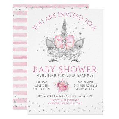 Pink and Silver Diamond Unicorn Baby Shower Invitations
