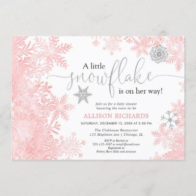Pink and silver snowflake winter girl baby shower invitation