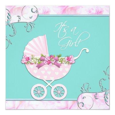 Pink and Teal Blue Baby Shower Invitation
