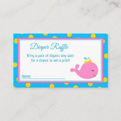 Pink and Turquoise Whale Baby Shower Diaper Raffle Enclosure Card