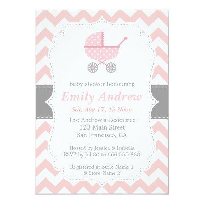 Pink and White Chevron, Stroller, Baby Girl Shower Invitations