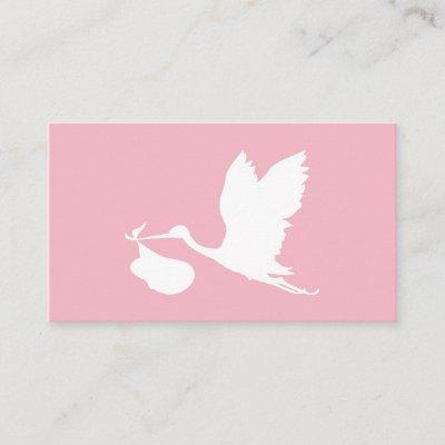 Pink and White Flying Stork Diaper Raffle Enclosure Card