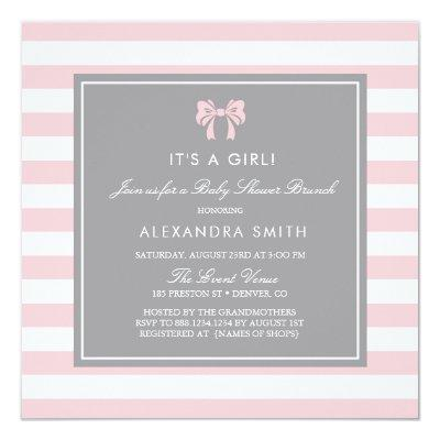 Pink and White Stripes with Bow Baby Shower Brunch Invitations