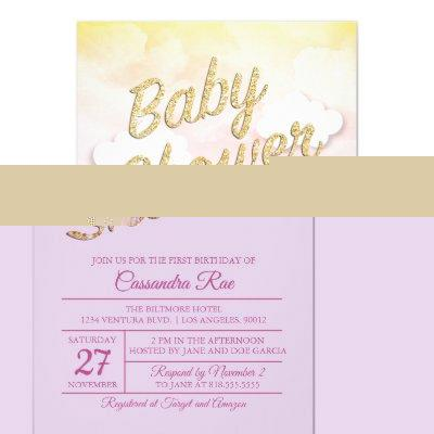 Pink and Yellow Sunset Baby Shower Invitation