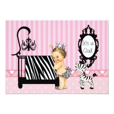 Pink and Zebra Baby Shower Invitation