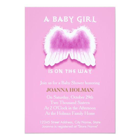 Pink Angel Wings Baby Shower Invitations