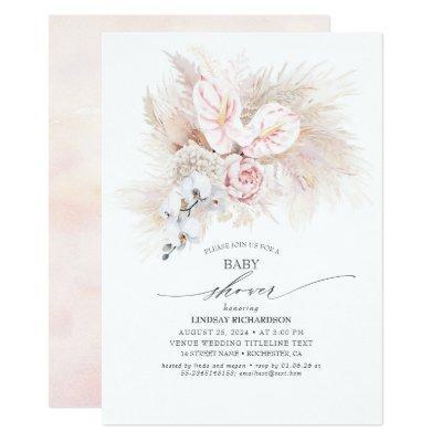 Pink Anthurium and Pampas Grass Baby Shower Invitation