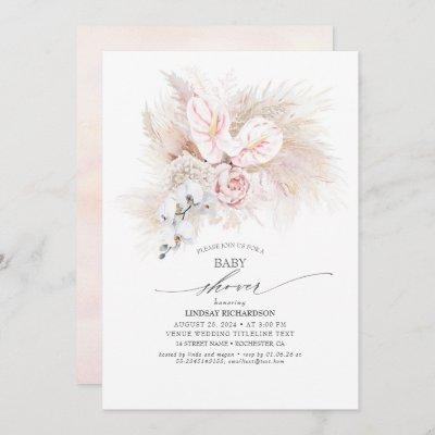Pink Anthurium and Pampas Grass Baby Shower Invitation