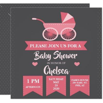 Pink Baby Carriage Baby Shower Invite