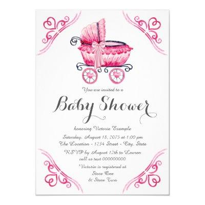 Pink Baby Carriage Pram Watercolor Baby Shower Invitation