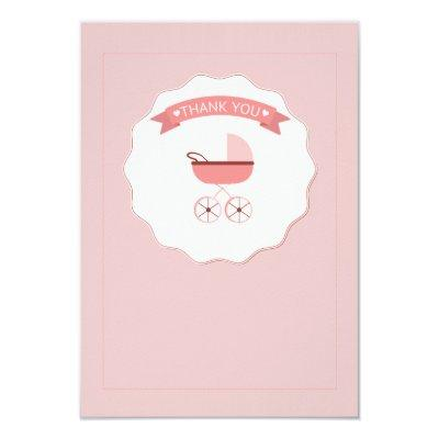 Pink Baby Carriage Thank You Notecard