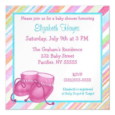 Pink Baby Girl Booties Shower Magnetic Invitation