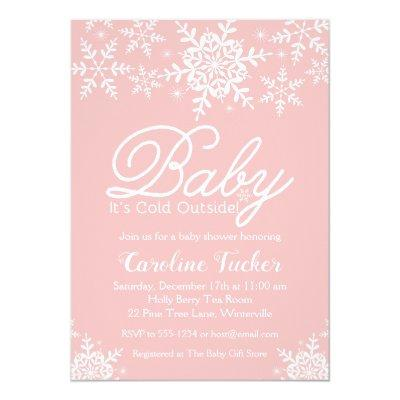 Pink Baby It's Cold Outside Baby Shower Snowflakes Invitation