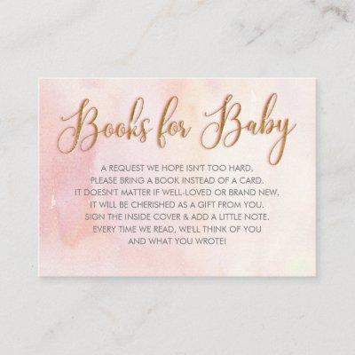 Pink Baby Shower Book Request Business Card