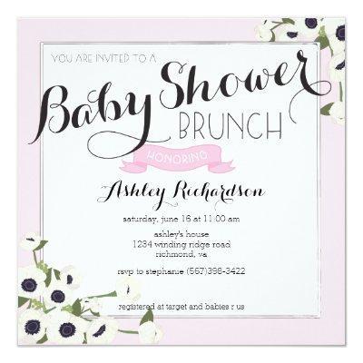 Pink Baby Shower Brunch Invitation