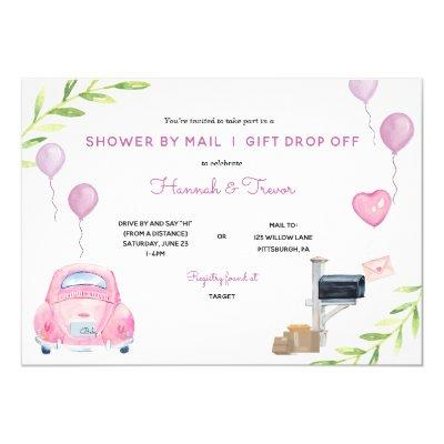 Pink Baby Shower by Mail and Gift Drop Off Invitation