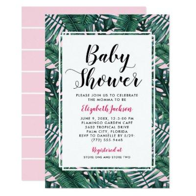 Pink Baby Shower Invitation | Palm Leaves