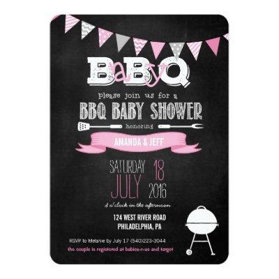Pink BabyQ BBQ Baby Shower Invitations