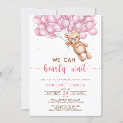 Pink Bear with Balloons Teddy Bear Baby Shower Invitation