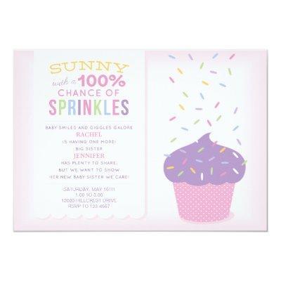Pink Big Sister Cupcake Baby Sprinkle Invitation