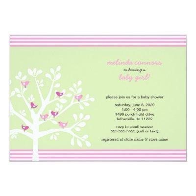 Pink birds on white tree baby shower invite