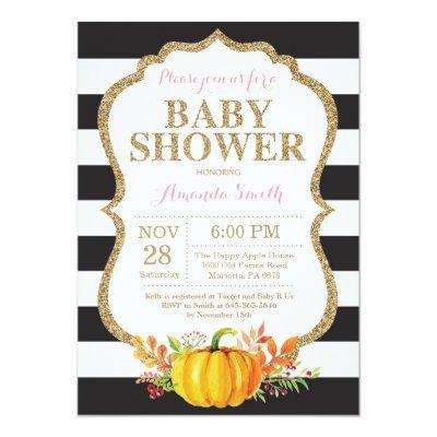 Pink Black and Gold Pumpkin Baby Shower Invitation