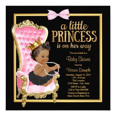 Pink Black Gold Chair Ethnic Princess Baby Shower Invitation