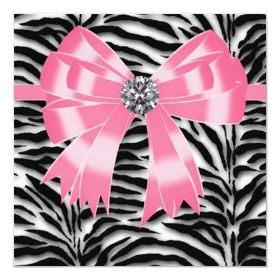 Pink Black Zebra Party Invitations Baby Shower Invitations – Zebra Party Invitations