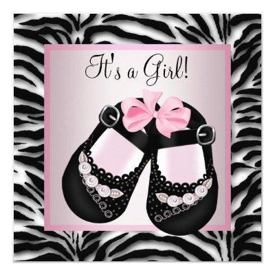 Pink Black Shoes Pink Zebra Baby Shower Invitations