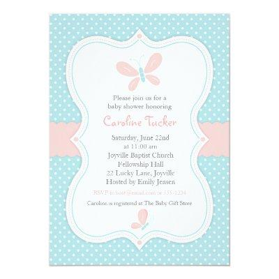 Pink & Blue Butterfly Baby Girl Shower Invitation