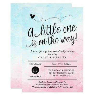 Pink & Blue Gender Reveal Baby Shower Invitations