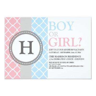 Pink/Blue Monogram Gender Reveal Invitations