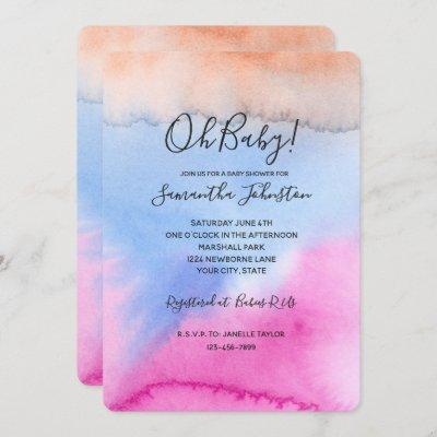 Pink Blue Peach Tie dye Invitation