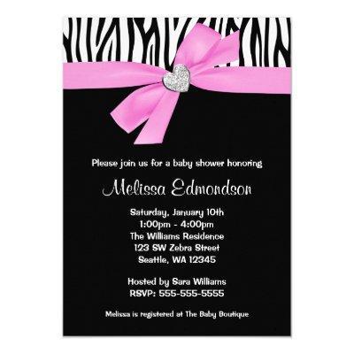 Pink Bow Diamond Heart Zebra Baby Shower Invitation
