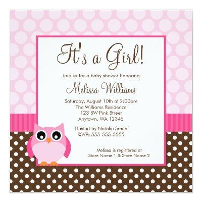 Pink Brown Owl Polka Dot Girl Baby Shower Invitations