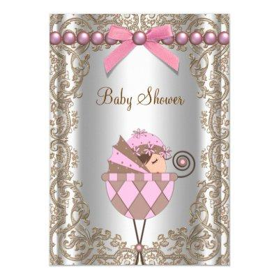 Pink Brown Pearls Lace Girl Invitations