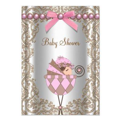 Pink Brown Pearls Lace Girl Baby Shower Invitation