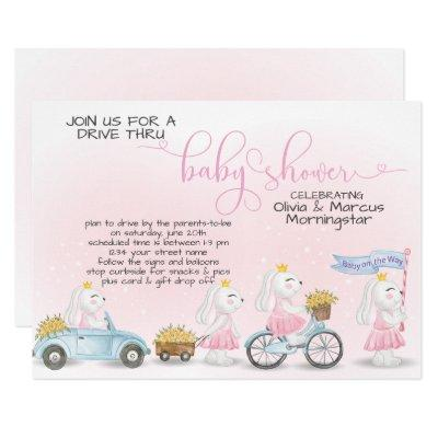 Pink Bunny Parade Drive Thru Baby SHower Invitation