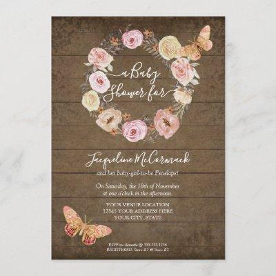 Pink Butterfly Floral Rustic Wood Wreath Baby Girl Invitation