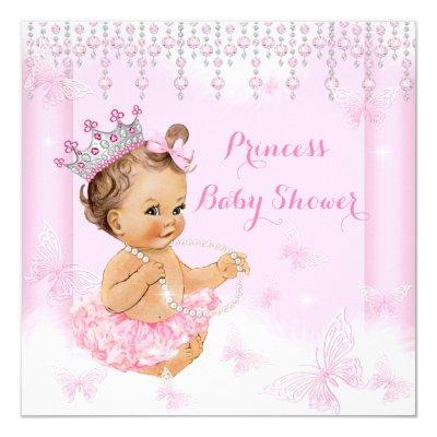 Pink Butterfly Tiara Princess Brunette Invitations
