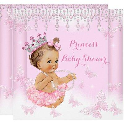 Pink Butterfly Tiara Princess Baby Shower Brunette Invitations